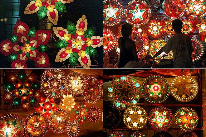 traditional christmas lanterns in the philippines made of japanese papers and dyed capiz shells