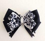 black damask hair bow