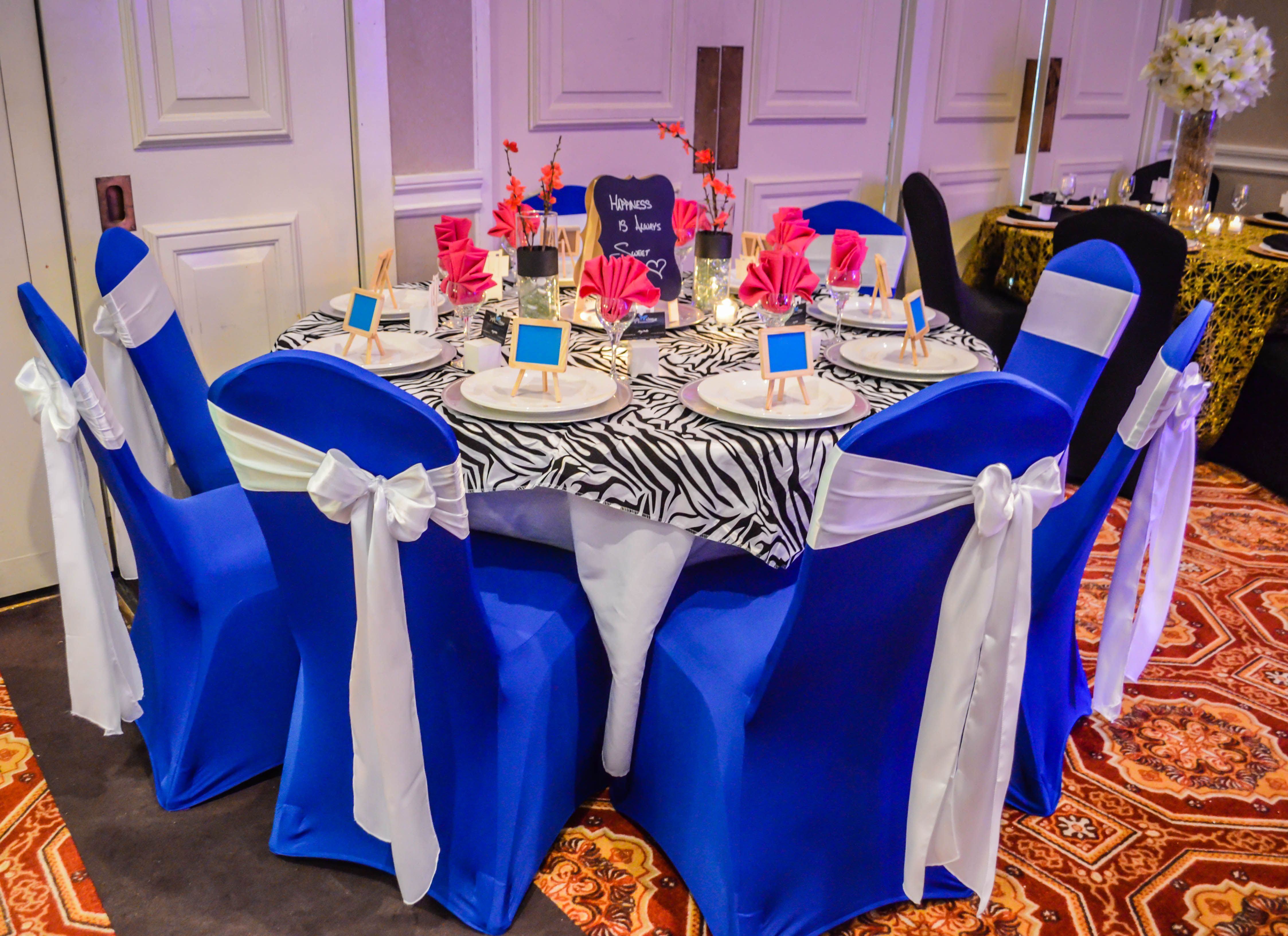 royal blue chair covers wood accent chairs spandex with white satin