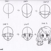 draw anime girl hair step