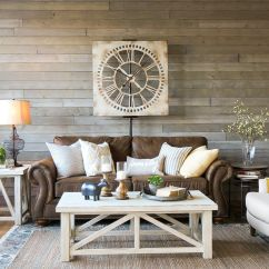 Rustic Gray Sofa Table Leather Sleeper With Recliner A Farmhouse Living Room That Will Make You Want Brown