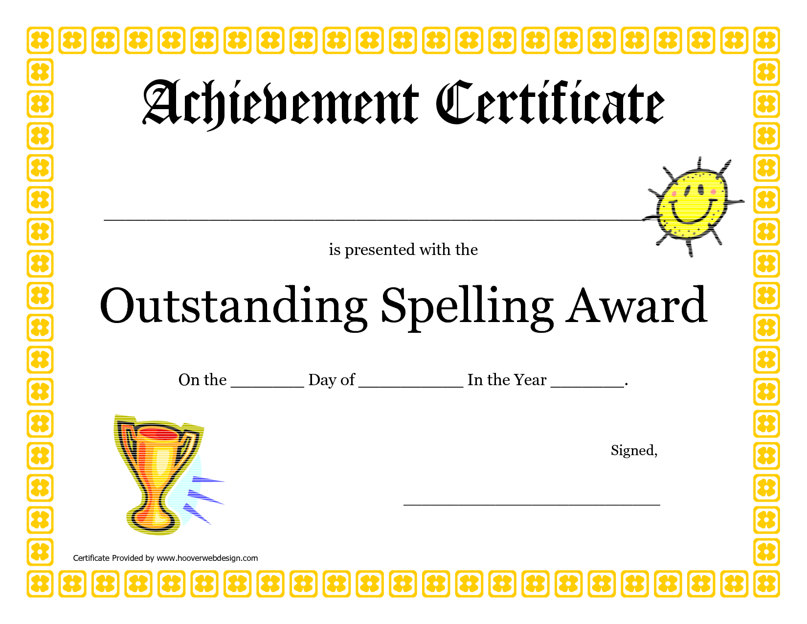 Outstanding Spelling Award Printable Certificate Picture