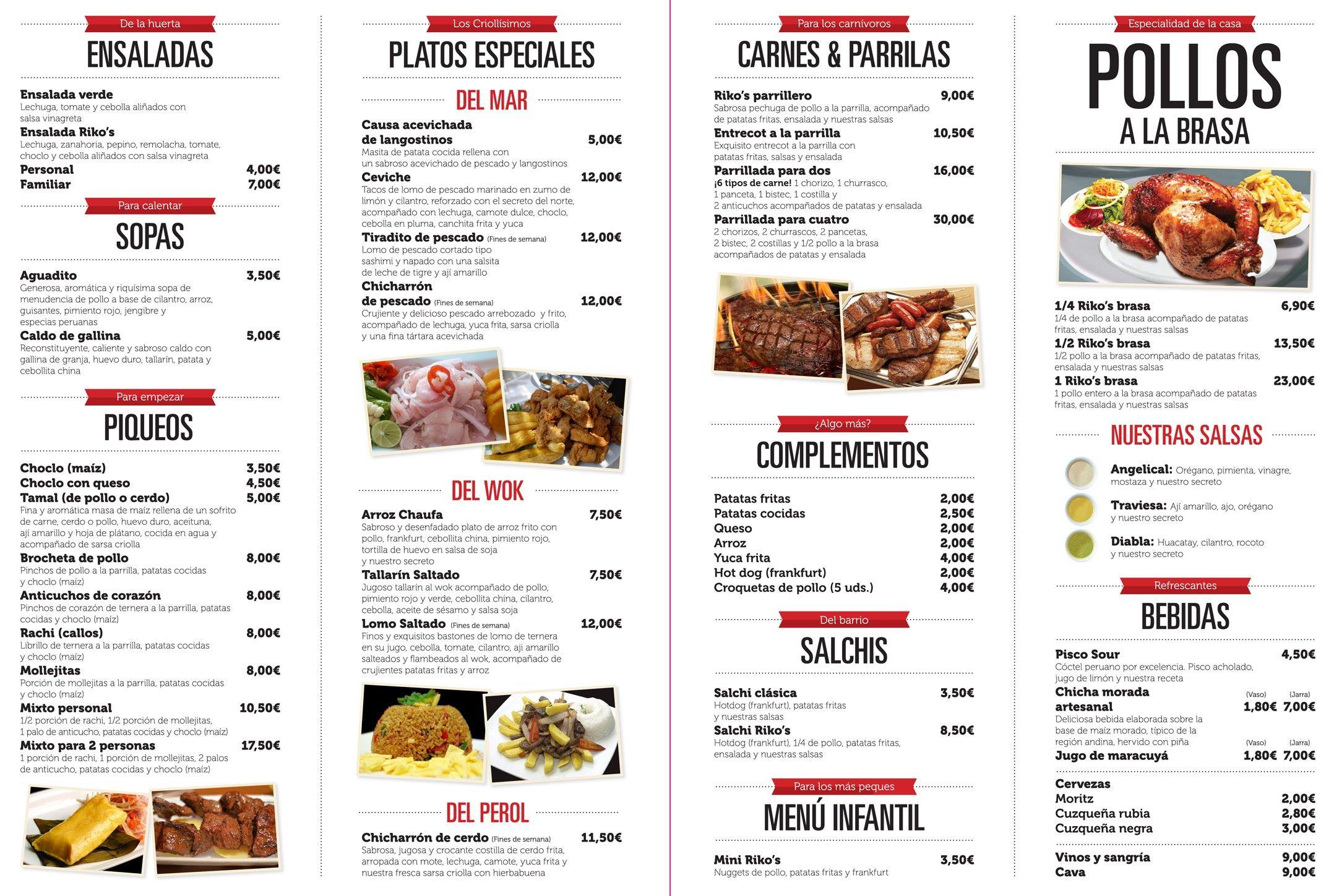 Pollos Rikos Carta Del Restaurante Peruano De Pollos A La Barasa En Barcelona