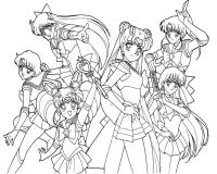 Sailor Moon And Her Friend Familiar Coloring Page | Print ...