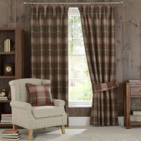 Red Highland Check Pencil Pleat Lined Curtains   Dunelm ...