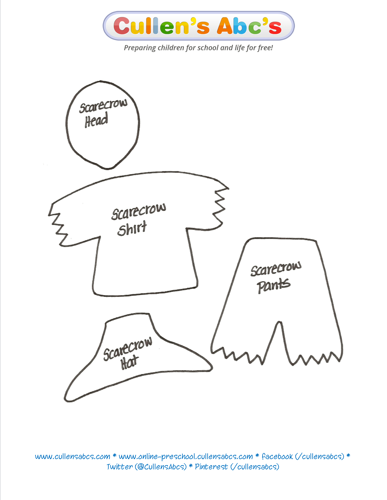 Use This Scarecrow Pattern To Print Out And Cut Out I