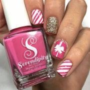pink christmas nails nail art