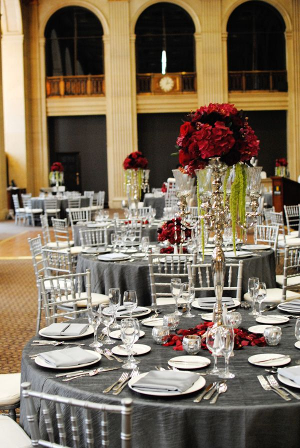 Red And Black Table Settings Weddings