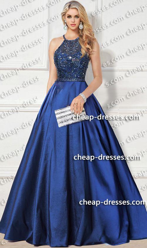 extravagant beaded high neck halter taffeta ball gown prom