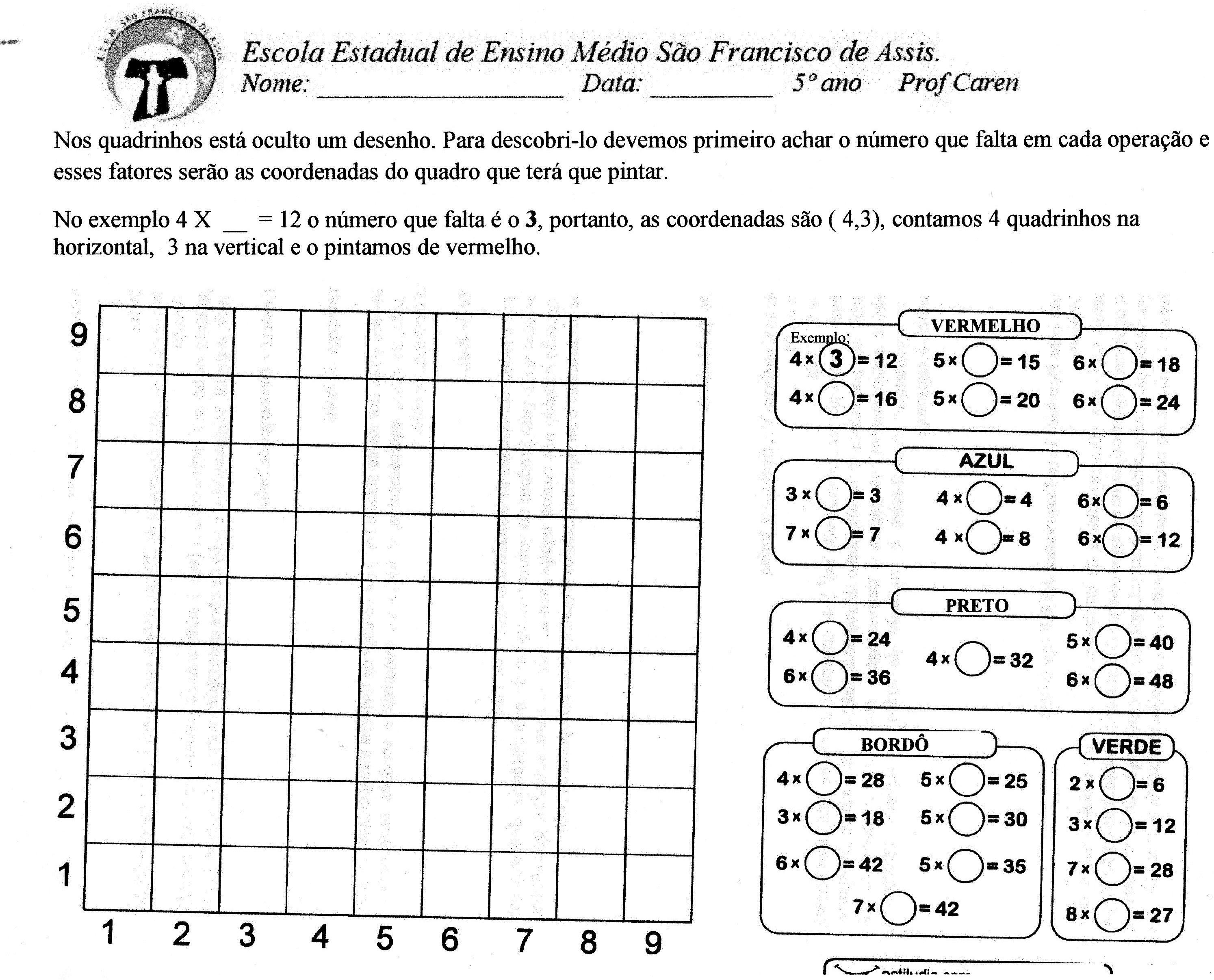 Pinte A Tabela Com As Coordenas Utilizando A Tabuada