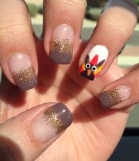 Gel nail art, turkey-thanksgiving nail art. gobble gobble ...