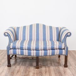 How Much Fabric To Recover A Camelback Sofa Minimal Furniture Blue Striped Chippendale Nailhead Trim
