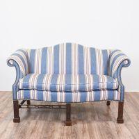 Blue Striped Camelback Chippendale Sofa | Nailhead trim ...