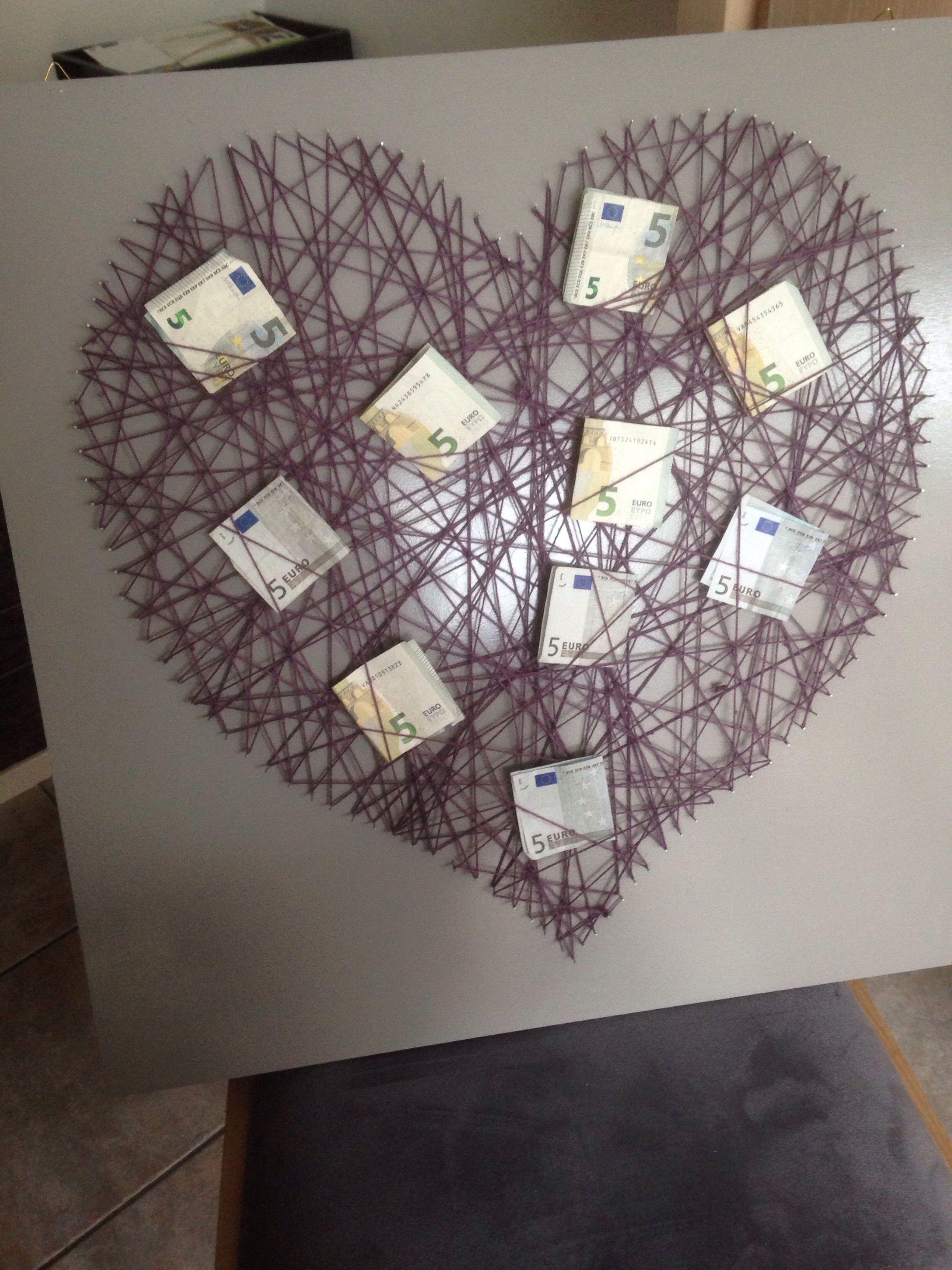 Hart met geld  Cadeau ideetjes  Pinterest  Geld Hart