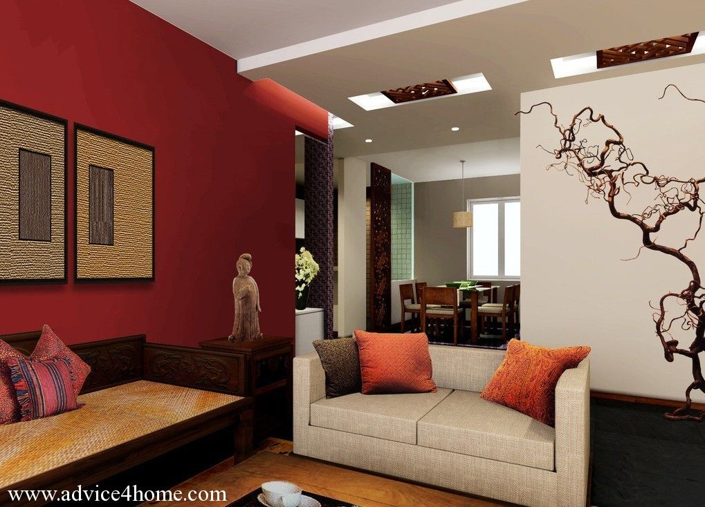 White False Pop Ceiling And Red Wall Design In Living Room For