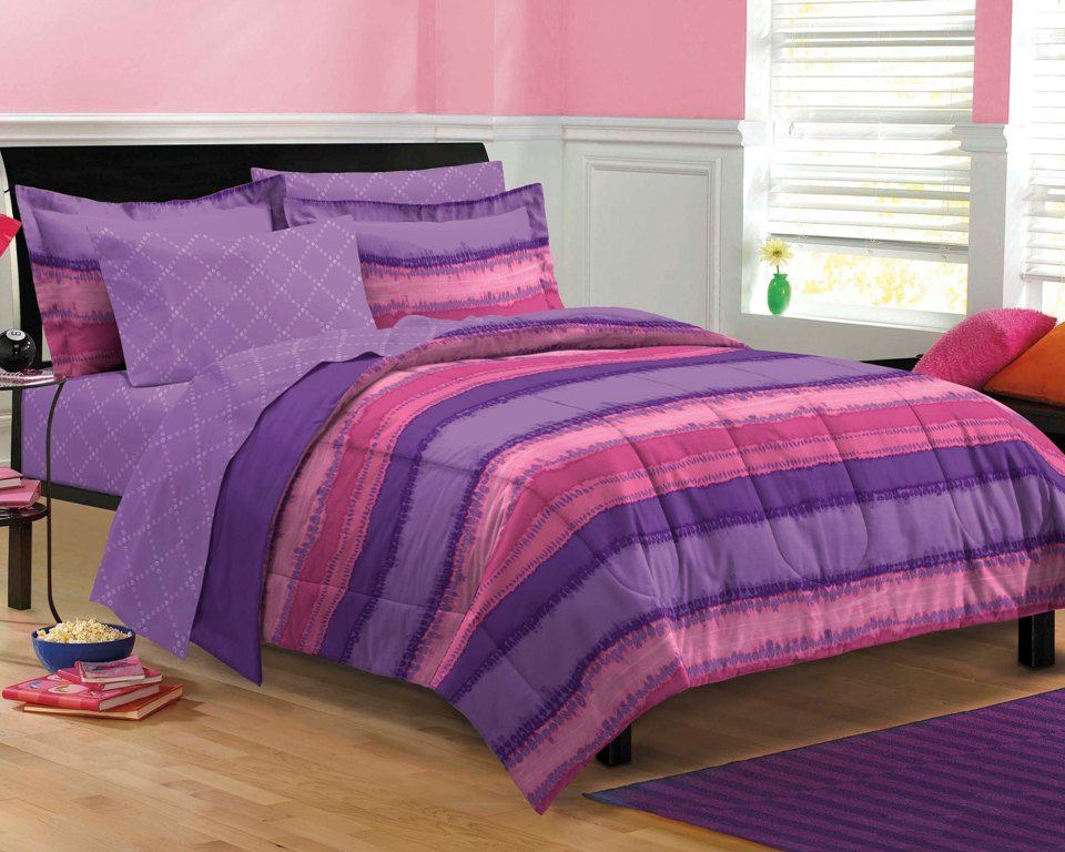 Purple & Pink Teen Girl Bedding Tie Dye Twin XL Full Queen
