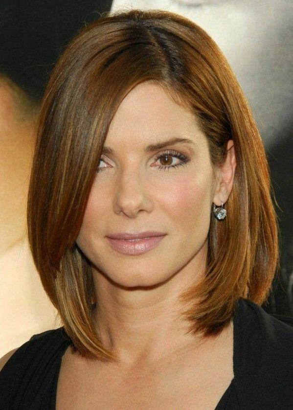 Sandra Bullock Haarschnitt Schulterlang Seitenscheitel Frisuren