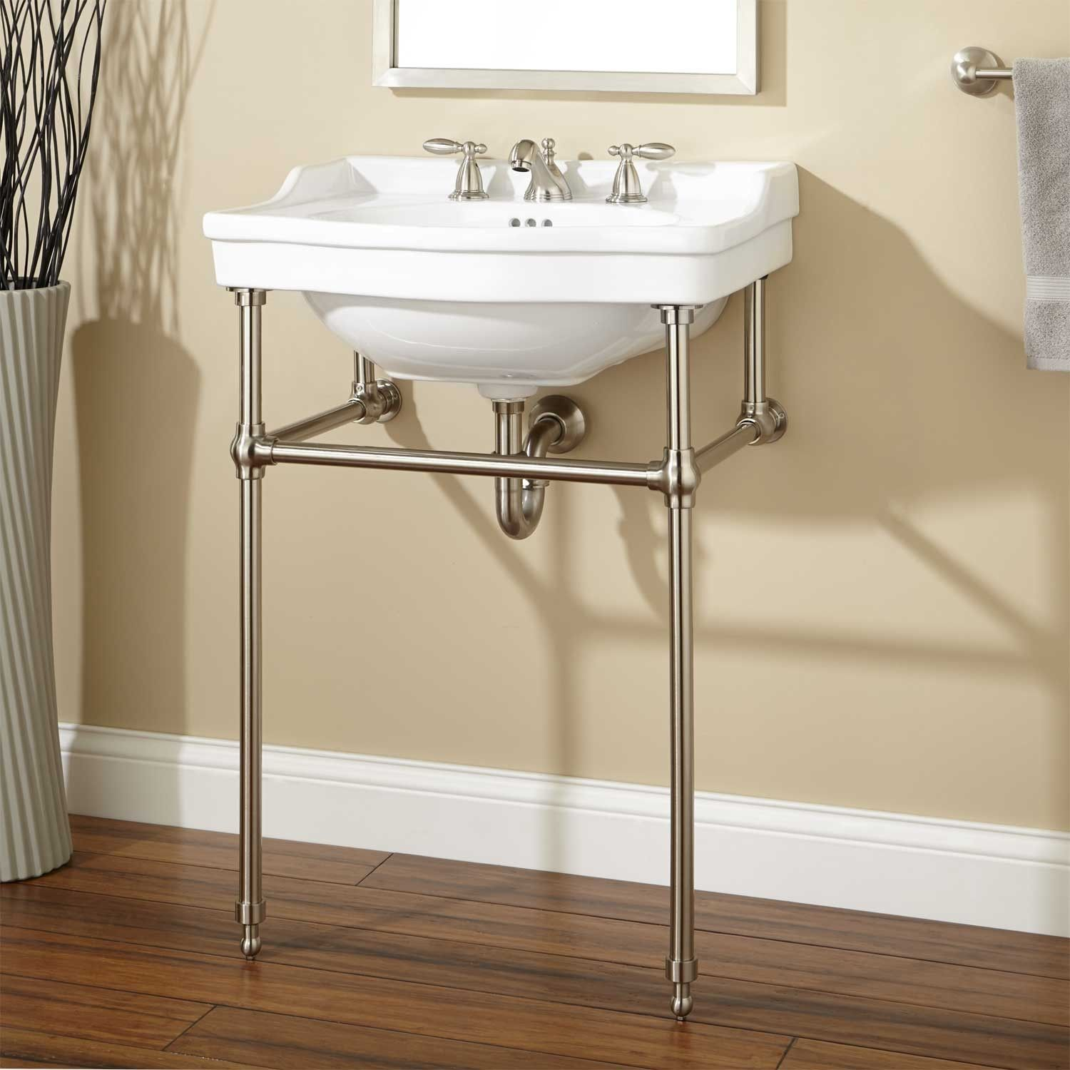 Cierra Console Sink with Brass Stand  Consoles Sinks and