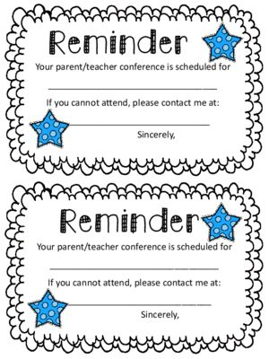 Parent Conference Reminder Note from Oh Miss Jill on