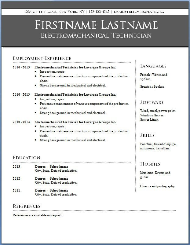 Free Resume Templates Word Example Of Modern Resume Modern Two