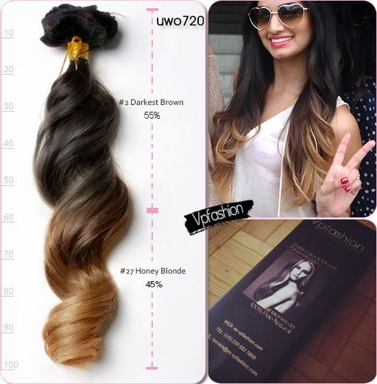 20 Inches Two Tone Human Hair Extensions Uwo720 For Hot Ombre