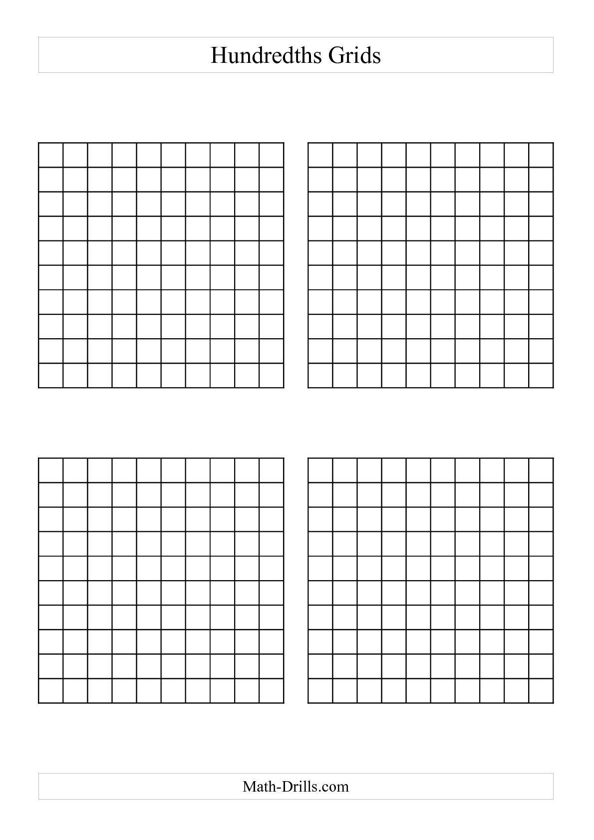 10 By 10 Grids To Add Decimals