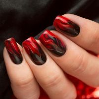 Black and red flame ombre | Dark Nails | Pinterest | Ombre ...