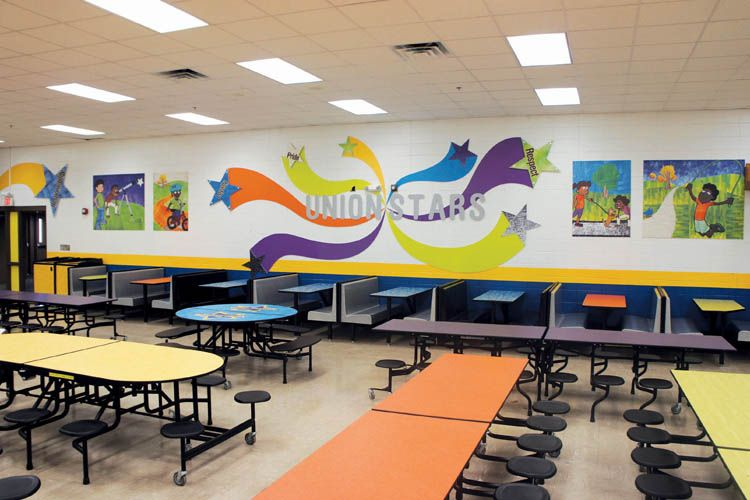 school cafeteria wall graphics