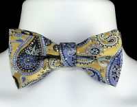 New Blue Gold Paisley Mens Bow Tie Adjust Necktie Tuxedo ...