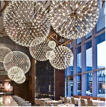 Luxury European Style Stainless Steel Chandelier Led Firework Light Ball Moooi Raimond Restaurant Living Room 110