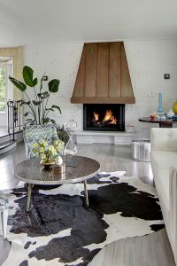 Copper Fireplace Hood, cowhide rug, vintage round tiled ...