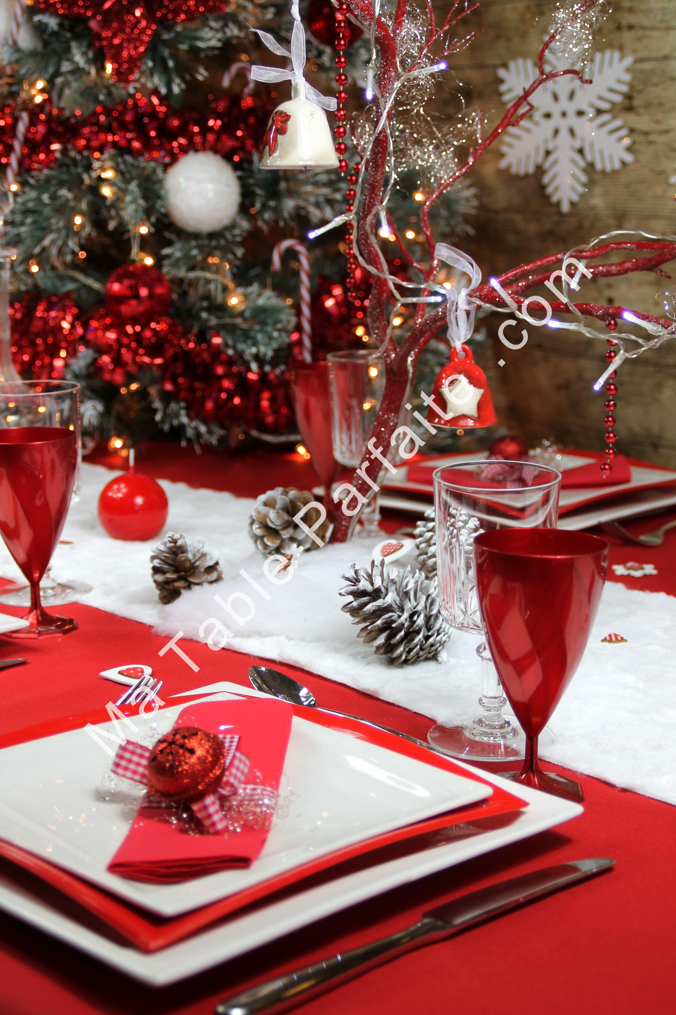 Deco de table de noel rouge et or