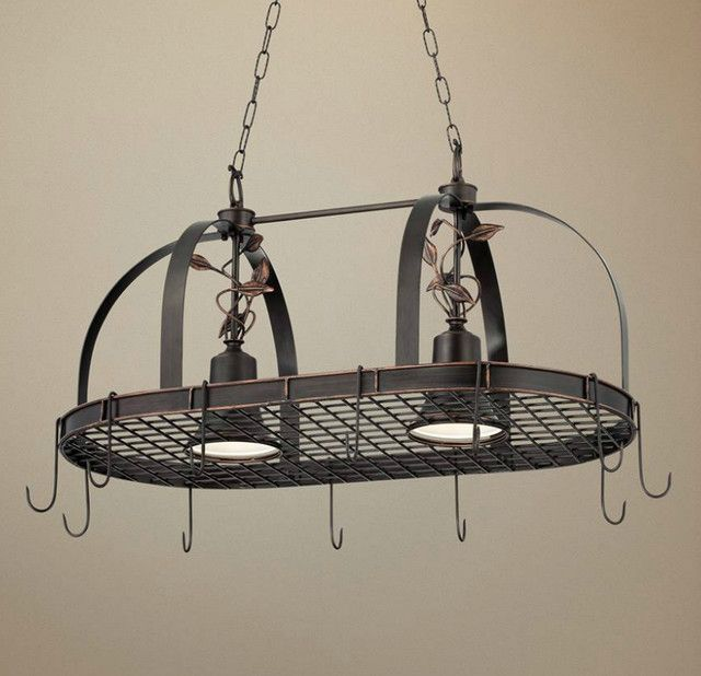 Rustic Style Kitchen Design With 2 Light Hanging Pot Rack Chandelier Solid Bronze Finished Metal