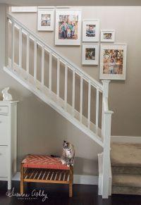 white ikea ribba frames staircase collage | Photo walls ...