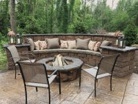 Seating Wall Fire Pit and Stamped Concrete Patio | Outdoor ...