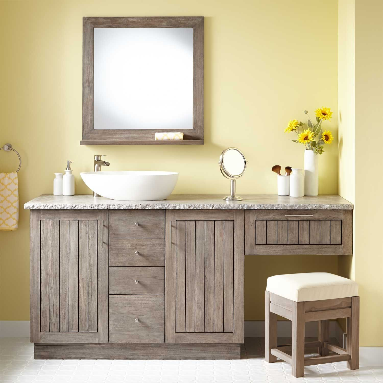 72 Montara Teak Vessel Sink Vanity with Makeup Area