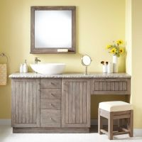 "72"" Montara Teak Vessel Sink Vanity with Makeup Area"