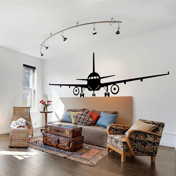 Airplane wall decal jumbo jet vinyl sticker home arts decals decor wt also rh pinterest