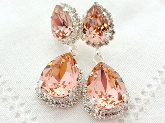 Blush Pink Crystal Chandelier Earrings Bridal Bridesmaid Gift Drop Dangle