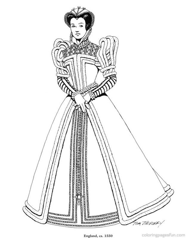 Renaissance Costumes and Clothing Coloring Pages 33