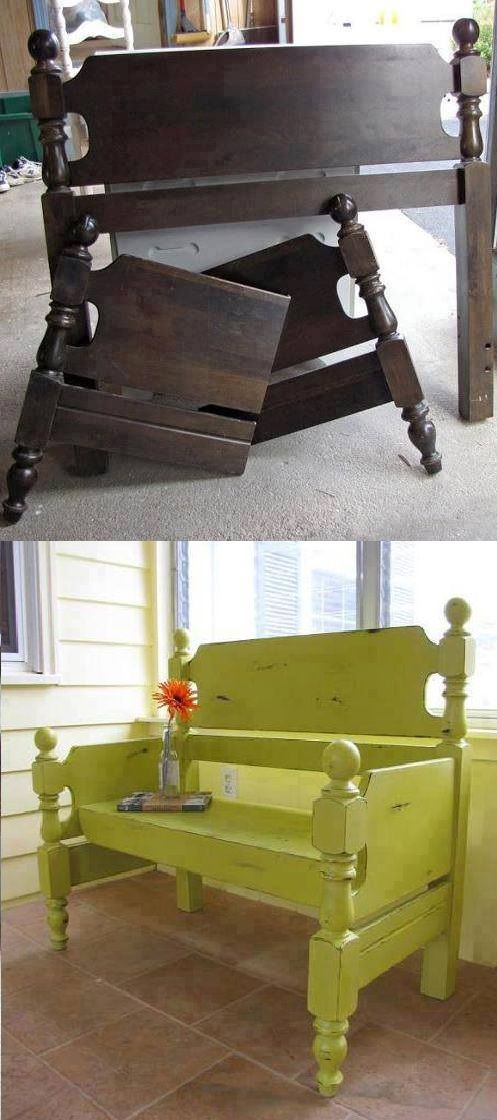 DIY New Bench Using Old Headboards DIY Projects