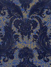 Victorian Flocked Velvet Wallpaper - Blue on Gold/Blue ...