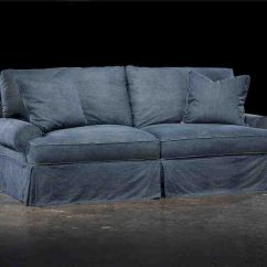 Cindy Crawford Denim Sofa Sleeper Dark Blue Tufted Slipcover Sure Fit Designer Furniture