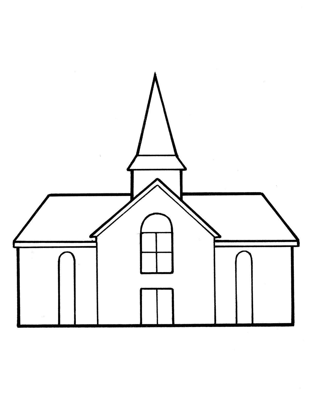 A line drawing of a meetinghouse from the nursery manual