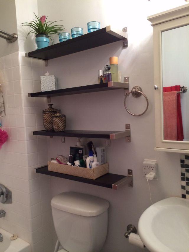 Small bathroom solutions Ikea shelves Bathroom