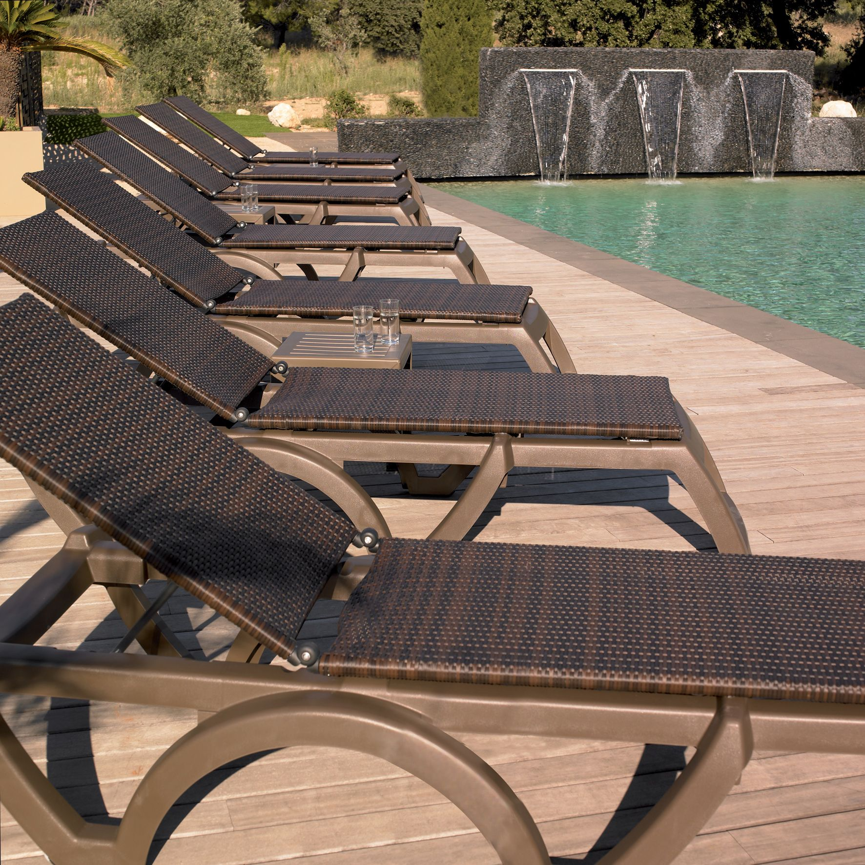 Pool Deck Chairs Java Pool Lounge Chair With Bronze Mist Frame And Espresso