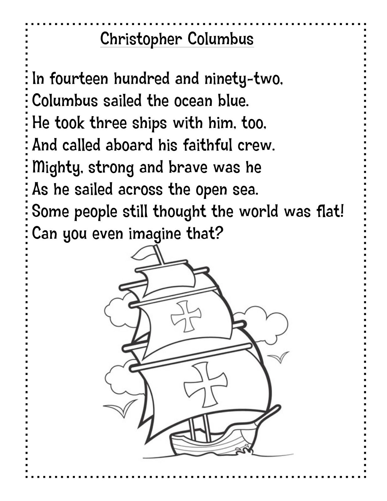 Christopher Columbus 1st Grade Reading Worksheet