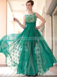 Sleeveless Beaded Prom Dress with Lace and Silk Chiffon ...