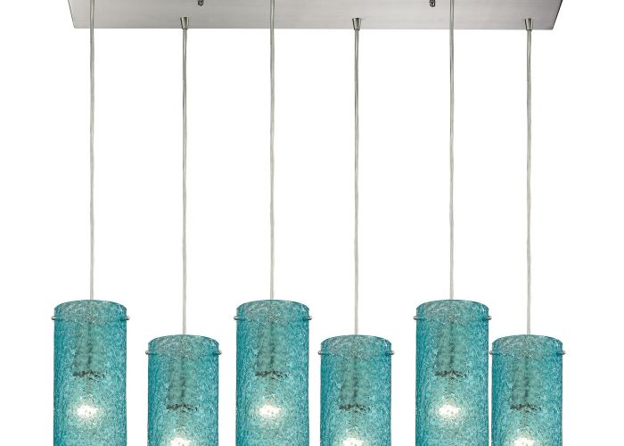 Ice fragments light pendant in satin nickel and aqua glass also
