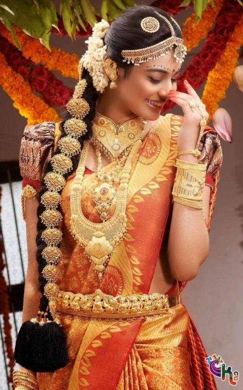 Modern South Indian Wedding Hairstyle Long Braid With Jewellery